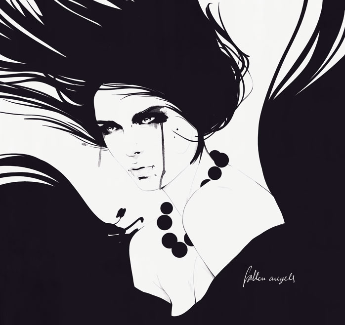 Black and white fashion drawing by manuel rebollo4
