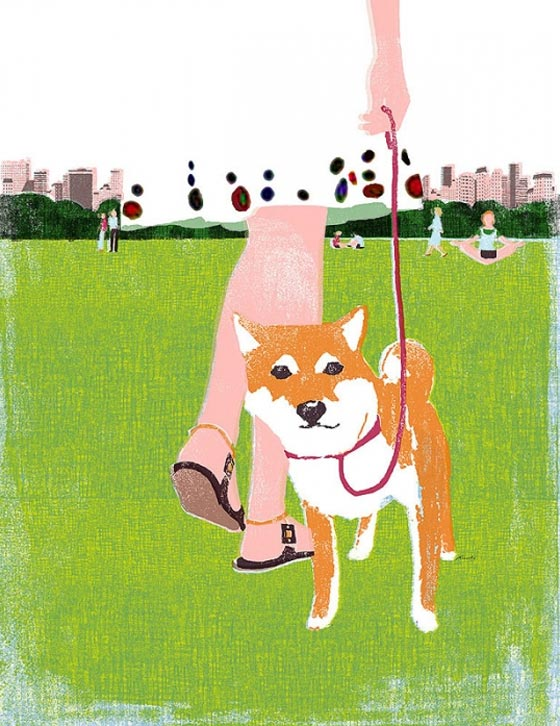 Dog illustration by Tatsuro Kiuchi