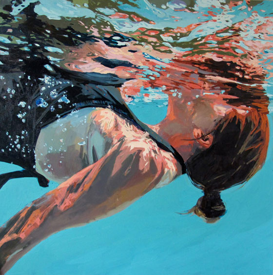 Paintings of swimmers by Samantha French