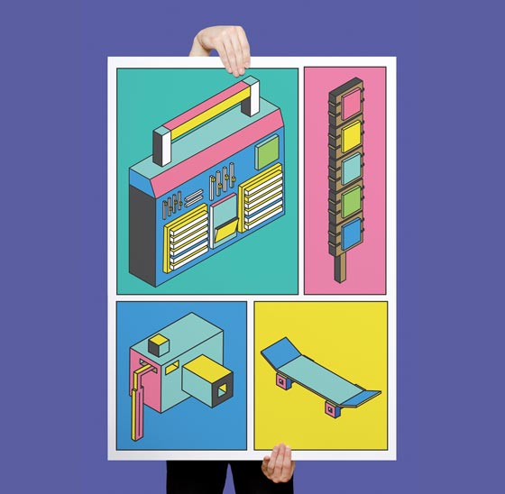 Minimalist and colourful pop illustration by Coby Wild