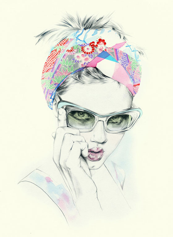Fashion Portrait Drawing Colorful Fashion Drawings by