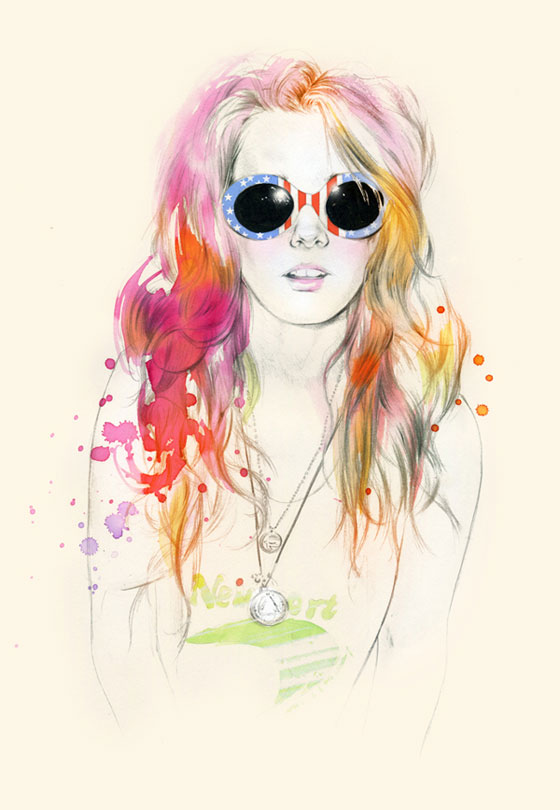 Colorful fashion drawings by Natalia Sanabria