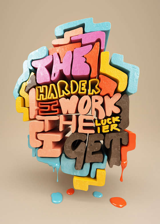 D Typography Quote Experiment Chris LaBrooy Partfaliaz - 3d rendered experimental artworks