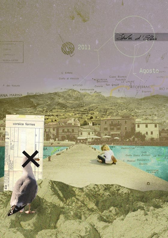 Editorial collages illustrations by Chiara Lanzieri