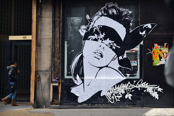 Street art and paper cut by Monsieur Qui