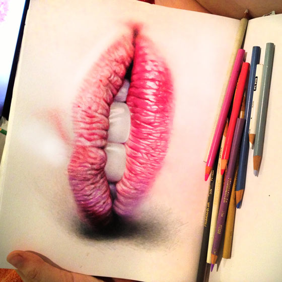 Hyper-realistic colored pencil portraits by Morgan Davidson