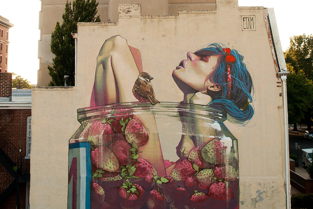 Street-art murals and digital paintings by Etam Cru