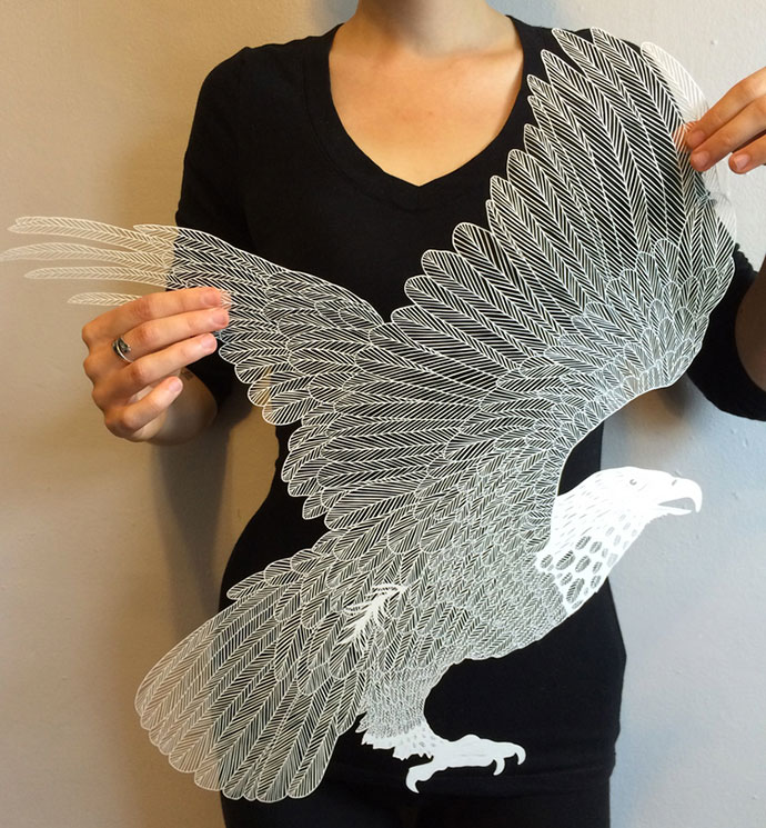 """Brave Bird"" intricate paper art by Maude White"