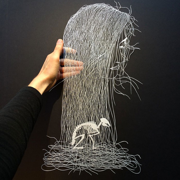 """brave bird intricate paper art by maude white partfaliaz"
