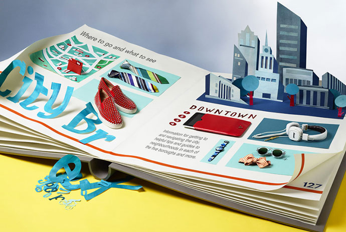 Clean and graphic paper set design by Hattie Newman