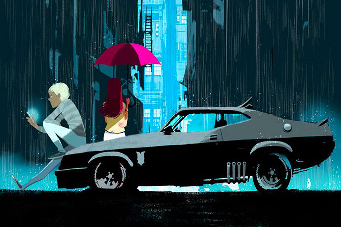 Muscle cars et jeunes couples, illustrations par Oriol Vidal