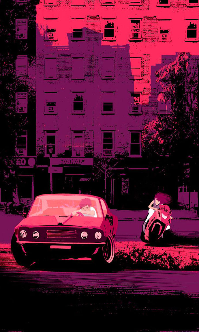 Muscle cars and couples, illustrations by Oriol Vidal