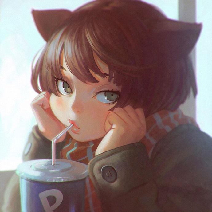 Digital paintings and pop illustrations by Ilya Kuvshinov