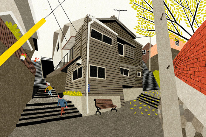 Illustrations et croquis urbains en grand angle par Ryo Takemasa