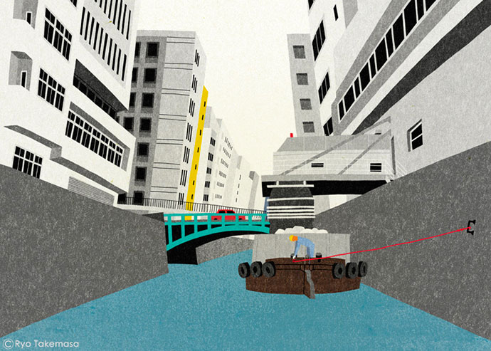 Wide angle urban illustrations and sketches by Ryo Takemasa