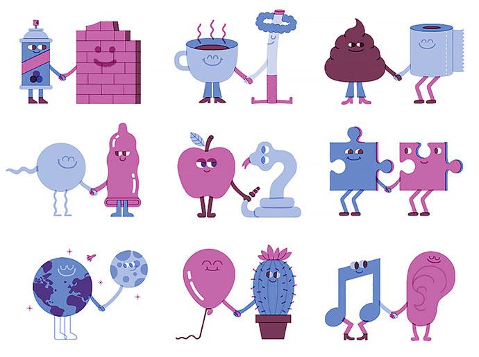 Jibjab's StoryBots, animated minimals by Mauro Gatti