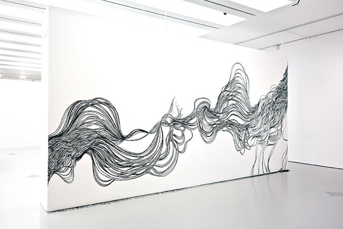 """A point nommé"", spontaneous drawing in situ by Ganaëlle Maury"