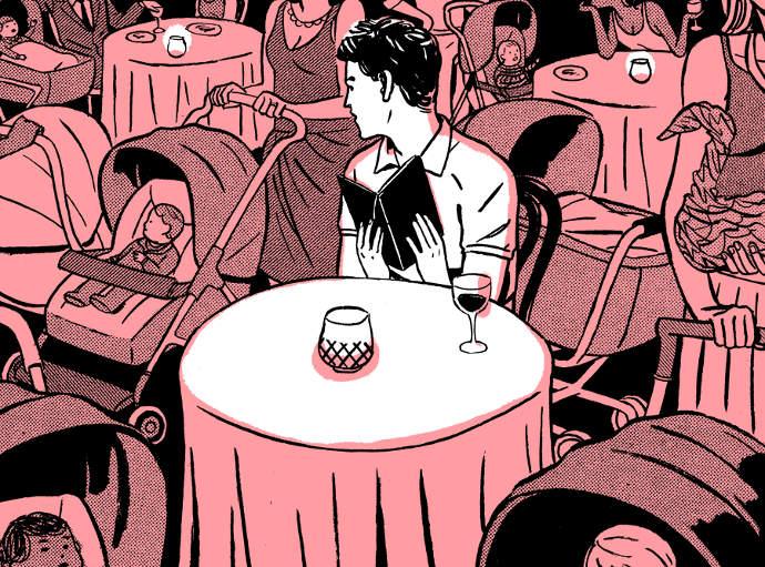 Stylish vintage illustration by Patrick Leger