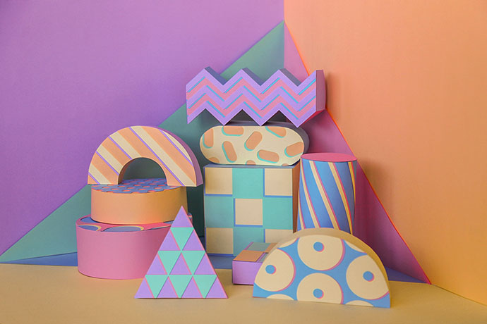 Colorful paper set design by Aline Houdé-Diebolt
