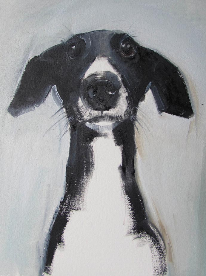 Human and dog portraits by painter sally muir partfaliaz for Painting for sale by artist