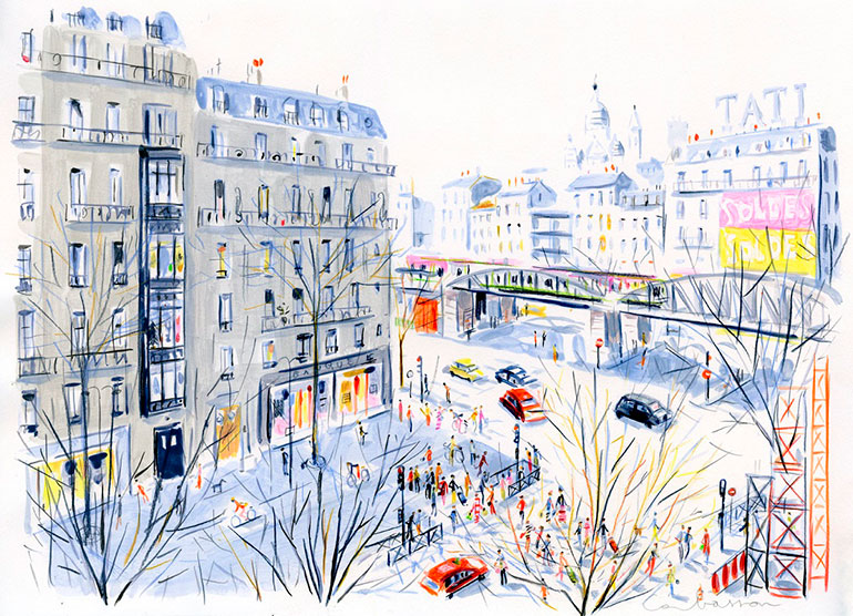 Parisian illustration style by Dominique Corbasson