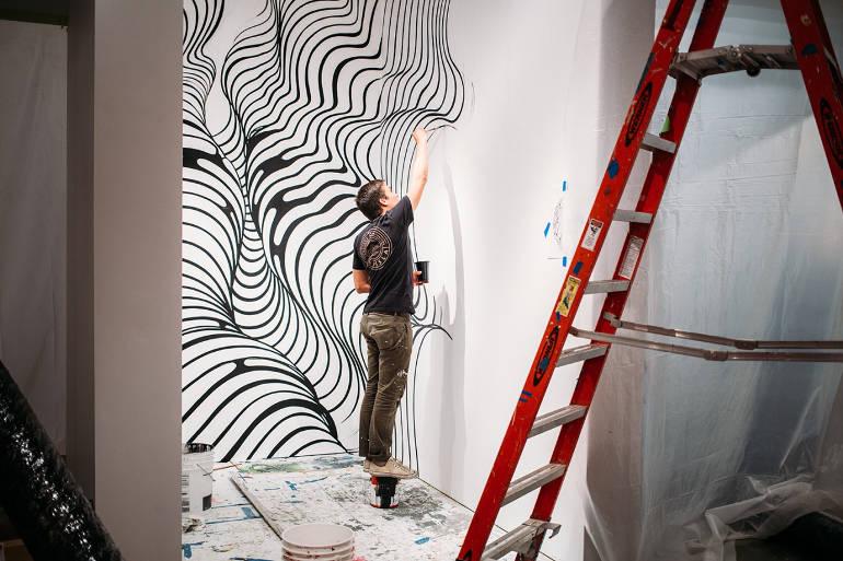 Hand painted geometric patterns by Brendan Monroe