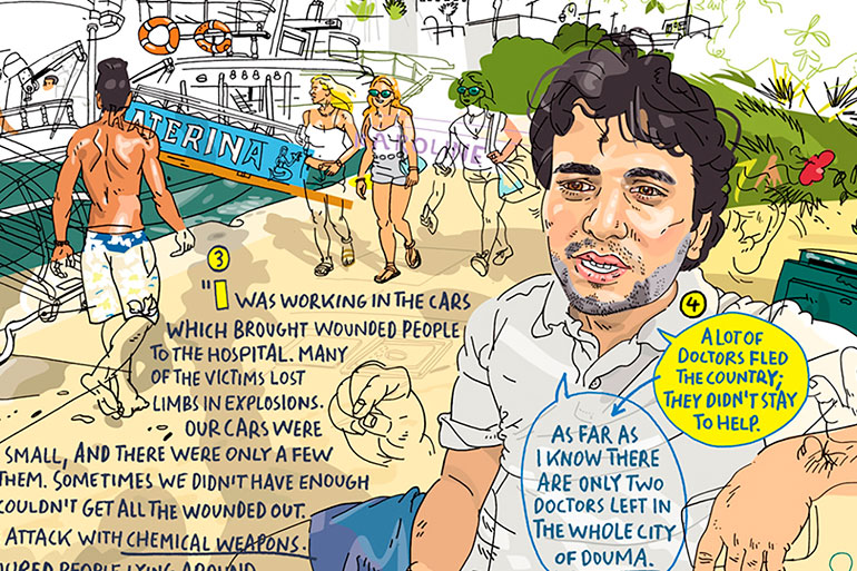 Hand drawings on location by Olivier Kugler