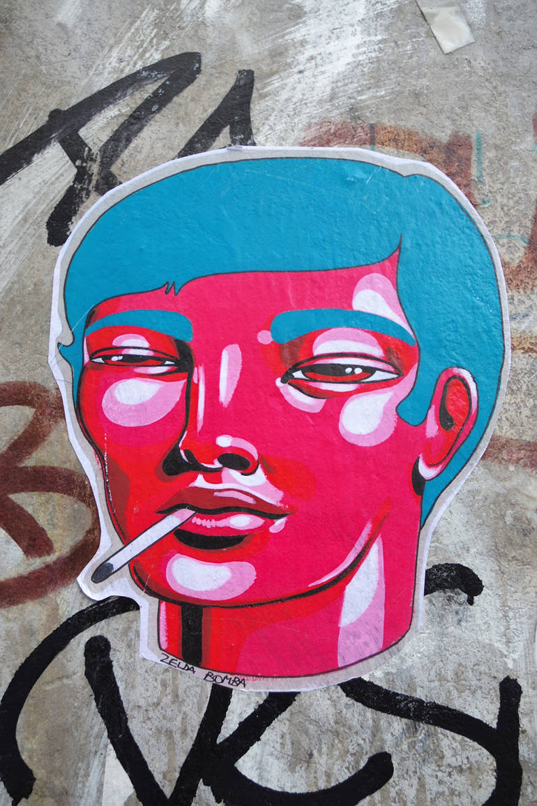 Original street-art faces by Zelda Bomba