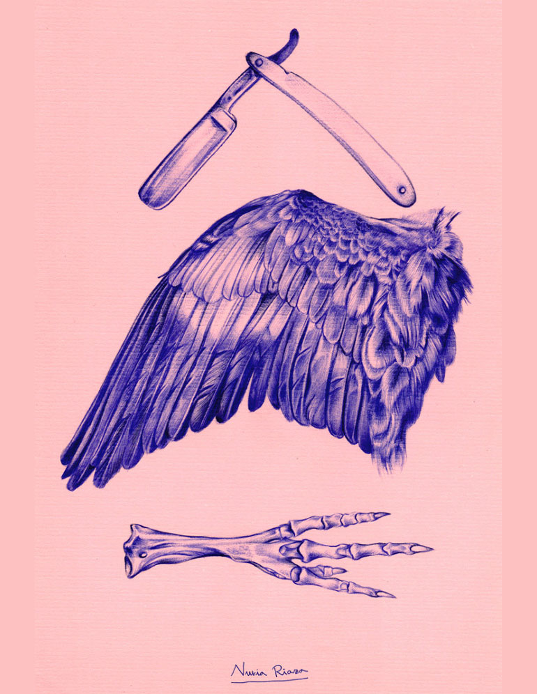 Ballpoint pen illustration by Nuria Riaza