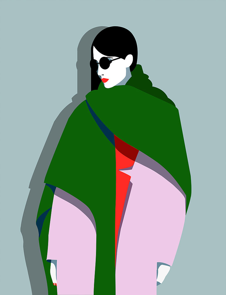 Graphic fashion illustrations by Mathilde Crétier