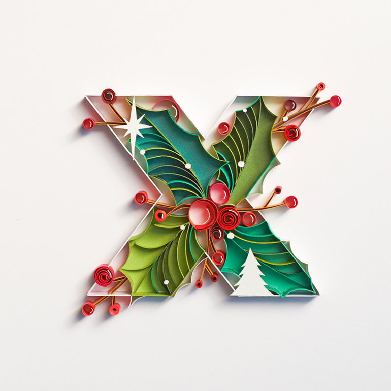 Quilled paper typography by Sabeena Karnik