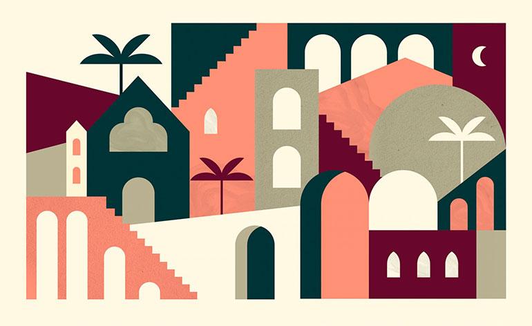 Geometric illustrations by Noémie Cédille