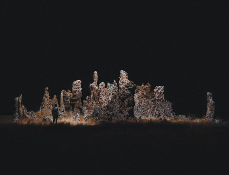 Rocks illuminated by a drone, Reuben Wu