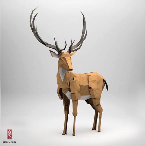 3D origami style animal illustrations by Jeremy Kool