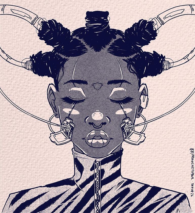 Retro-futurist portraits by Leandro Massai